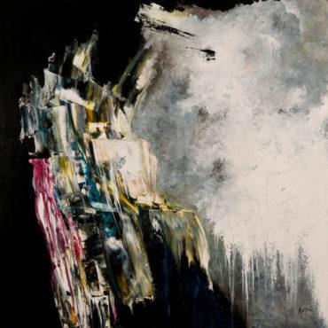 """""""Profondeurs"""" (Les monts de Sève)   acrylique sur toile   40″ x 40″ >> Vendu"""