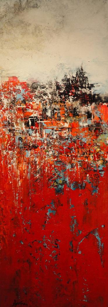 """""""En friche""""   acrylique sur toile   36″ x 12″"""