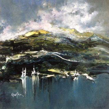 """""""Rive nord""""  acrylique sur toile  14″ x 14″"""