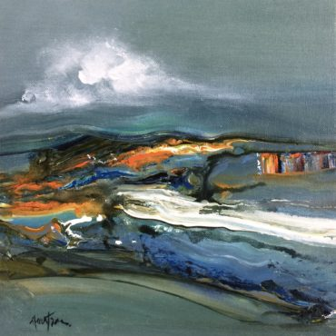 """""""Lac d'émeraude""""   acrylique sur toile   10″ x 10″"""
