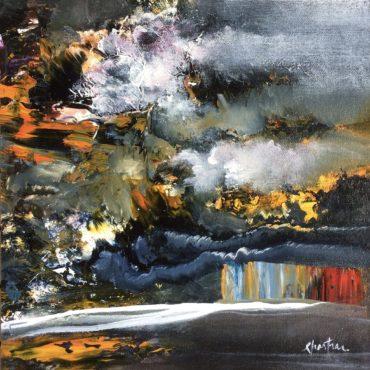 """""""La nuit se dresse""""   acrylique sur toile   10″ x 10″"""