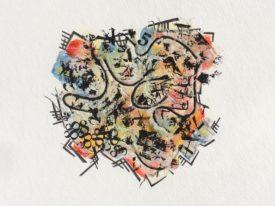 """""""Le spectre du logis"""" oeser et techniques mixtes sur papier St-Gilles 12″ x 14″"""