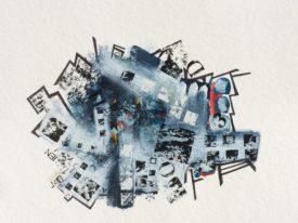 """""""Blueprint"""" oeser et tech. mixtes  sur papier St-Gilles 12″ x 14″"""