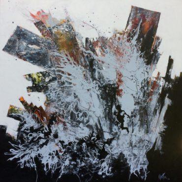 """""""Déracinement"""" Acrylique sur toile 40″ x 40″"""